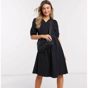 Monki puff sleeve tie wrap dress in black size M
